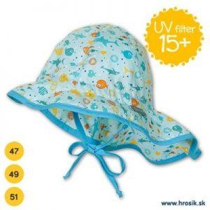 Letný bavlnený klobúčik s plachetkou pre chlapcov s UV 15+ modrý