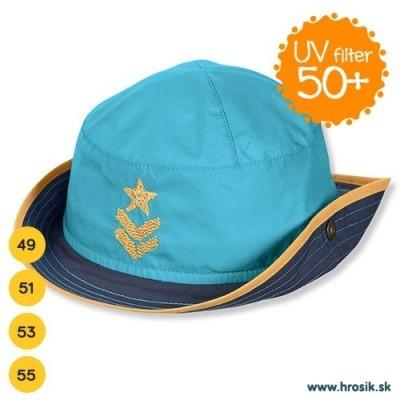 Letný bavlnený kovbojský klobúčik pre chlapcov s UV 50+ modrý