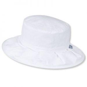 Letný bavlnený klobúčik pre dievčatká s UV 50+ biely