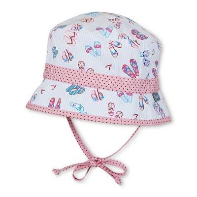 Letný bavlnený klobúčik s UV 50+ pre dievčatá bielo-ružový