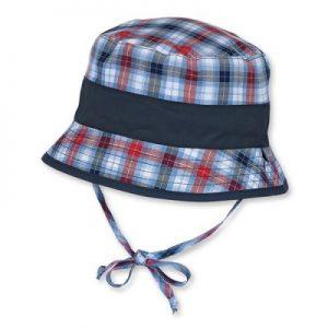Letný bavlnený klobúčik s UV 50+ pre chlapcov modro-červený