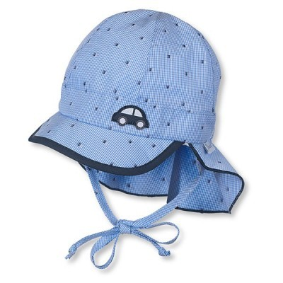Letná bavlnená čiapka s plachetkou pre chlapcov s UV 50+ modrá