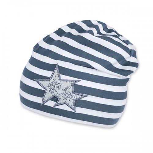 Jarná bavlnená čiapka pre chlapcov s UV 50+ sivo-biela