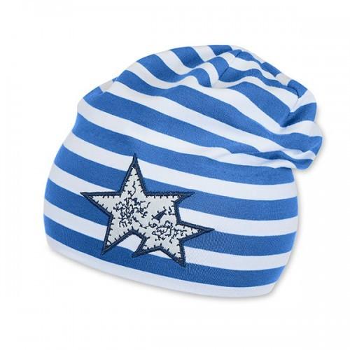 Jarná bavlnená čiapka pre chlapcov s UV 50+ modro-biela