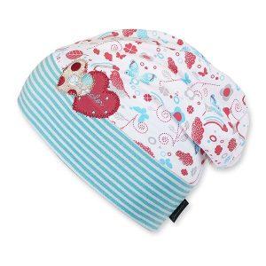Jarná bavlnená čiapočka s UV 50+ pre dievčatá bielo-modrá
