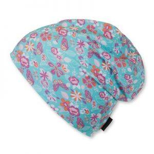 Jarná bavlnená čiapočka pre dievčatá s UV 50+ modrá