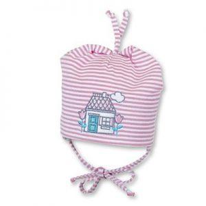 Jarná bavlnená čiapočka pre dievčatká s UV 50+ ružová