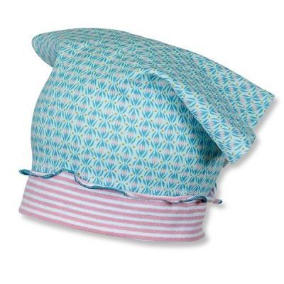 Letná bavlnená čiapočka s UV 15+ pre dievčatá modro-ružová