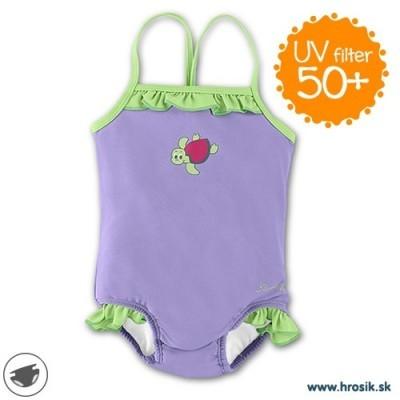 Plavky celé s UV 50+ pre dievčatá fialovo-zelené