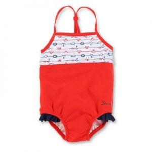 Plavky celé s UV 50+ pre dievčatá červeno-biele