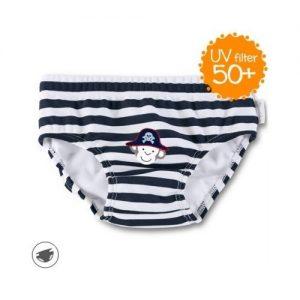 Plavky so všitou plienkou pre chlapcov s UV 50+ čierno-biele