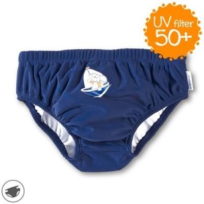 Plavky slipy so všitými plienkami pre chlapcov s UV 50+ tmavomodré