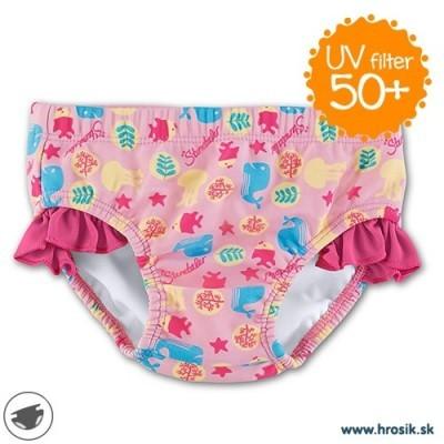 Plavky spodný diel so všitými plienkami pre dievčatá s UV 50+ ružové