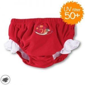 Plavky spodný diel so všitými plienkami pre dievčatá s UV 50+ červené