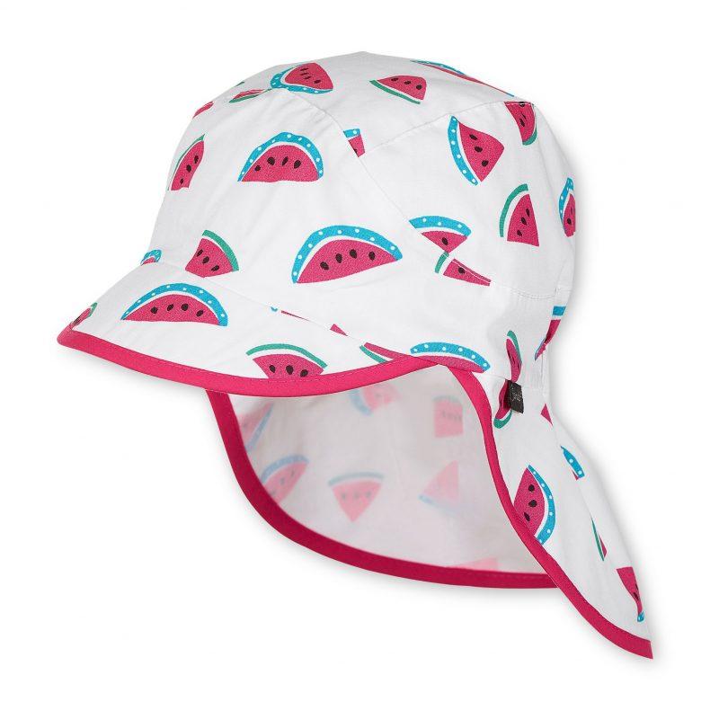 Letná bavlnená čiapka s plachetkou pre dievčatá s UV 50+ biela