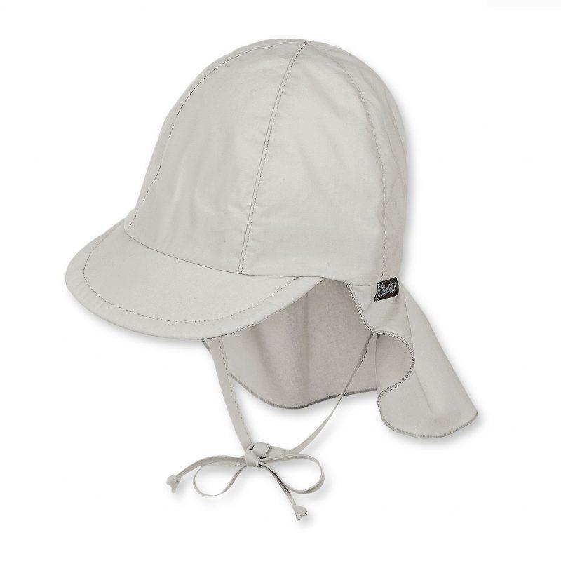 Letná bavlnená čiapka s plachetkou pre chlapcov s UV 50+ sivá