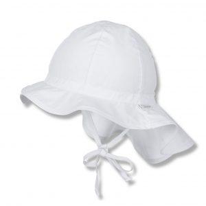 Letný bavlnený klobúčik UNI 50+ s plachetkou biely