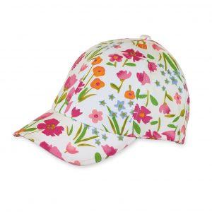 Letná bavlnená šiltovka s UV 50+ pre dievčatá bielo-ružová