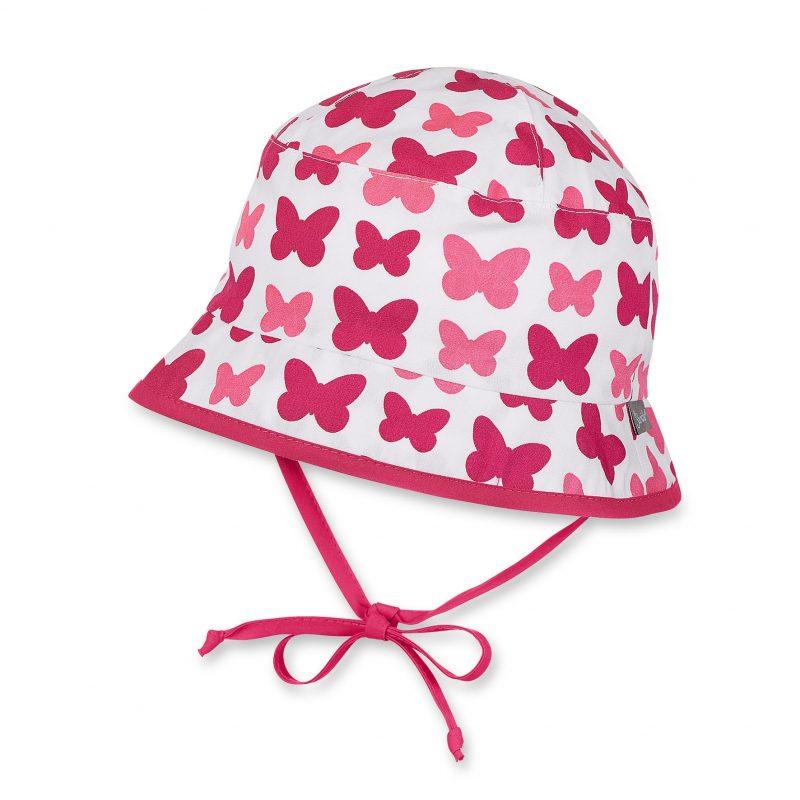 Letný bavlnený klobúčik s UV 30+ pre dievčatá červeno-biely