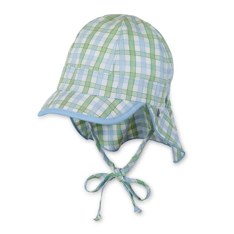 Letná bavlnená čiapka s plachetkou pre chlapcov s UV 50+ zeleno-modrá