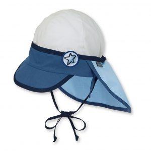 Letná bavlnená čiapka s plachetkou pre chlapcov s UV 50+ modro-biela