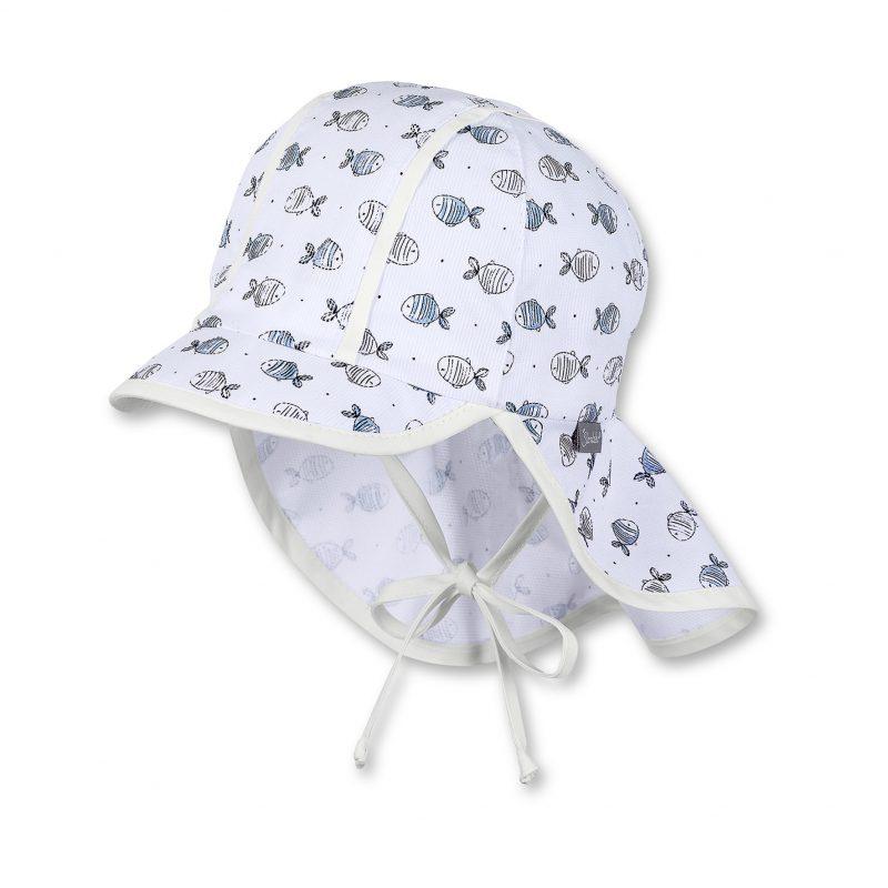 Letná čiapka s plachetkou pre chlapcov s UV 50+ biela