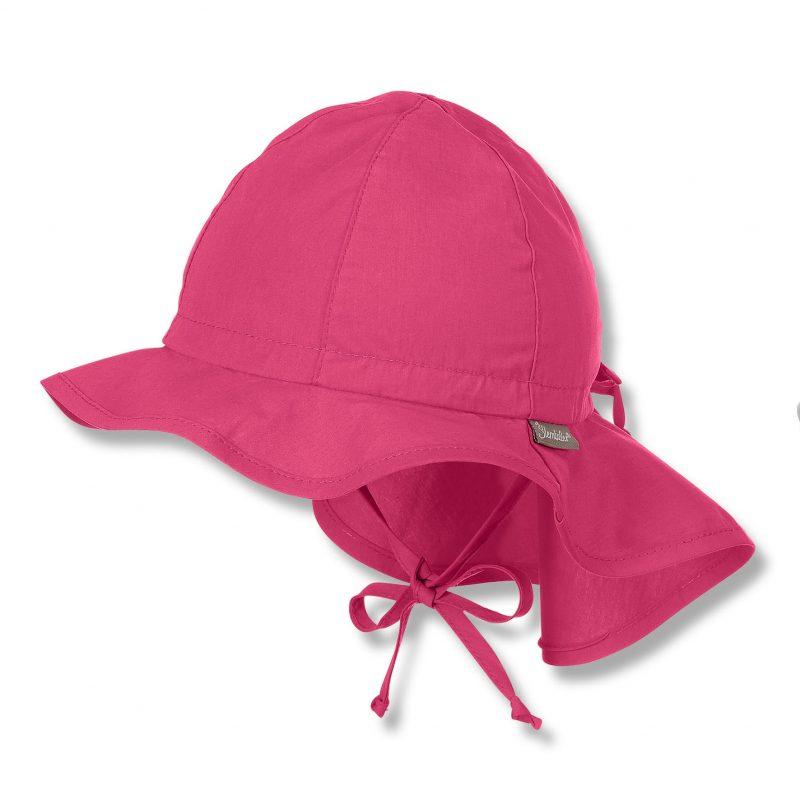 Letný bavlnený klobúčik s plachetkou pre dievčatá s UV 50+ tmavoružový