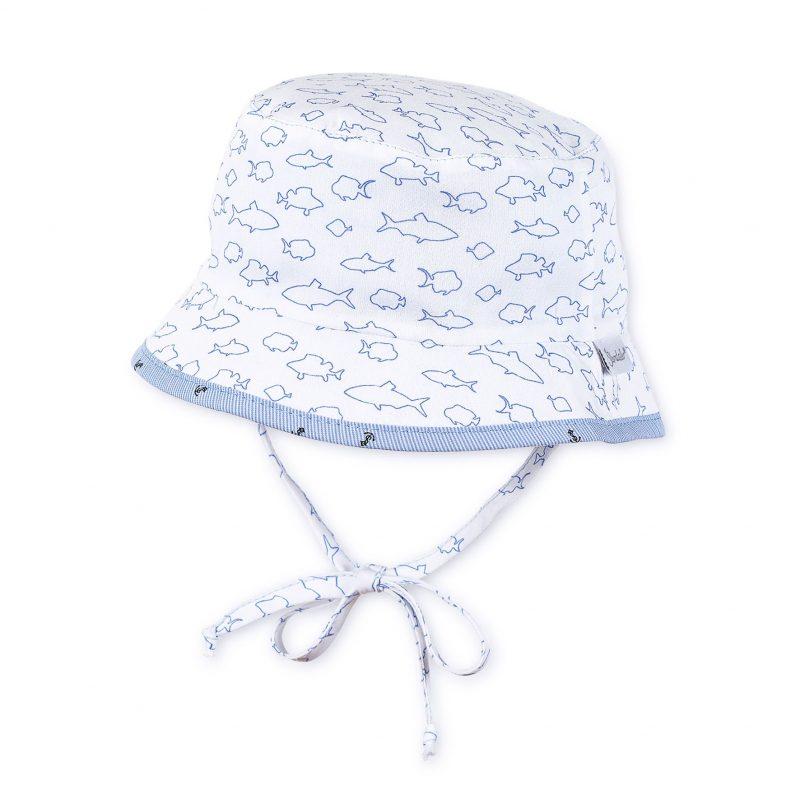 Letný bavlnený klobúčik s UV 50+ pre chlapcov modro-biely