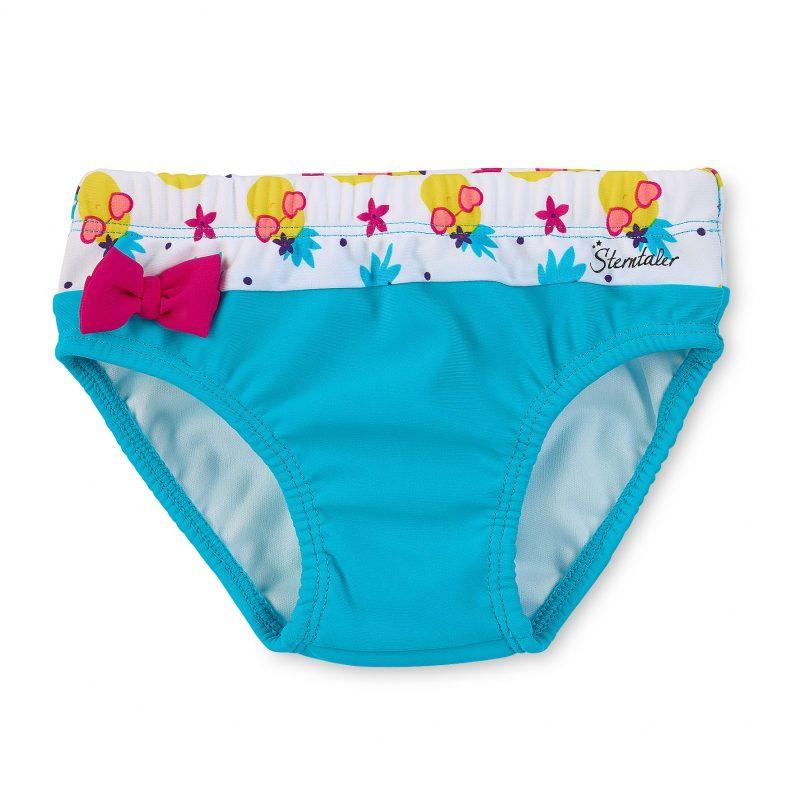 Plavky spodný diel s UV 50+ pre dievčatá azúrovo-biele