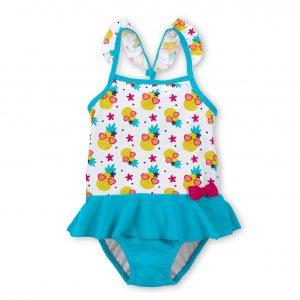 Plavky celé s UV 50+ pre dievčatá azúrovo-biele