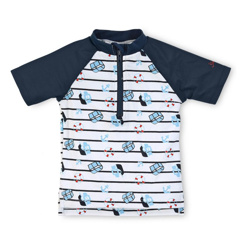 Tričko do vody s UV 50+ pre chlapcov bielo-modré