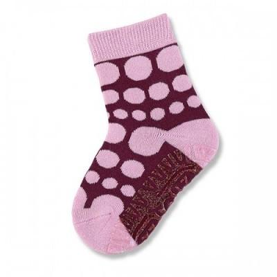 Protišmykové ponožky pre dievčatá ružovo-bordové