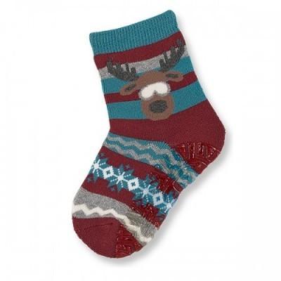 Protišmykové ponožky so sobíkom pre chlapcov modro-bordové