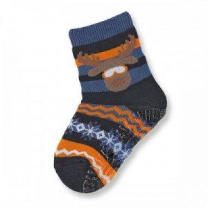 Protišmykové ponožky so sobíkom pre chlapcov tmavomodré
