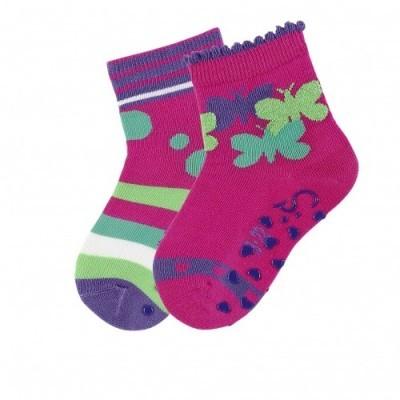 Protišmykové ponožky pre dievčatá tmavoružové