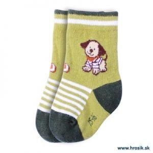 Detské ponožky so psíkom pre chlapcov zelené