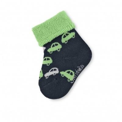 Detské ponožky pre chlapčekov s autíčkom modré-zelené