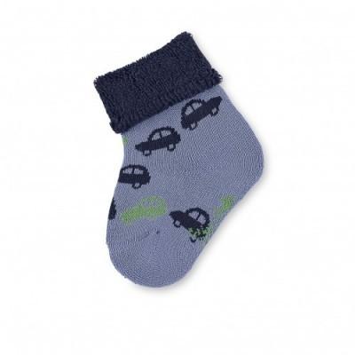 Detské ponožky pre chlapčekov s autíčkom modré