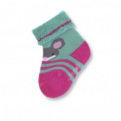 Detské ponožky pre dievčatá s myšičkou zeleno-ružové