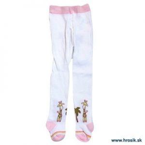 Pančuchy pre dievčatá so žirafou bielo-ružové