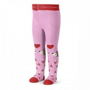 Pančuchy na zimu pre dievčatá s hubičkami ružové