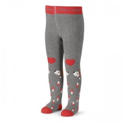Pančuchy na zimu UNI s hubičkami sivo-červené