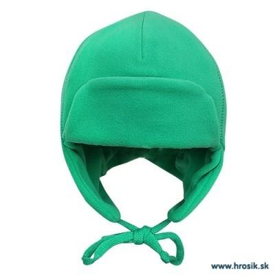 Baranica na zimu so šnúrkami pre chlapcov zelená