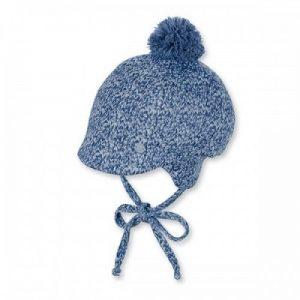 Zimná pletená čiapka s brmbolcom pre chlapcov modrá