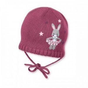 Zimná pletená čiapka na zaväzovanie pre dievčatá cyklaménová