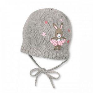Zimná pletená čiapka na zaväzovanie pre dievčatá sivá