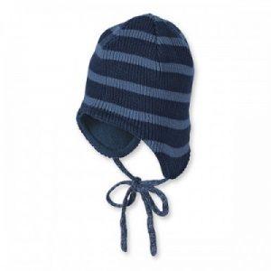 Zimná pletená čiapka s fútrom pre chlapcov tmavomodrá