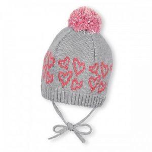 Zimná pletená čiapka na viazanie pre dievčatá sivo-ružová