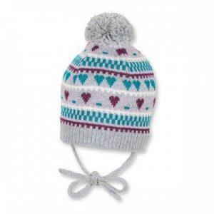 Zimná pletená čiapka na viazanie pre chlapcov sivá