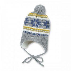 Zimná pletená čiapka na viazanie pre chlapcov sivo-žltá